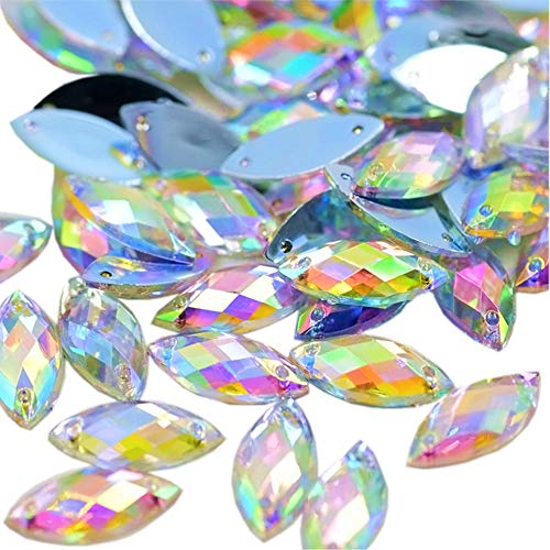 Big Sale Horse Eye Shape Crystal AB Color Clear Sew On Acrylic Rhinestones Flatback Fancy Stones Sewing for Clothing Dress Decorations 6x12mm 300pcs