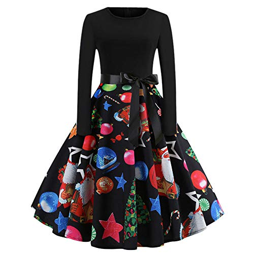 GREFER Women Long Sleeve Dress Vintage Pumpkins Halloween Christmas Evening Prom Costume Swing Dress (M, B-Multicolor) -