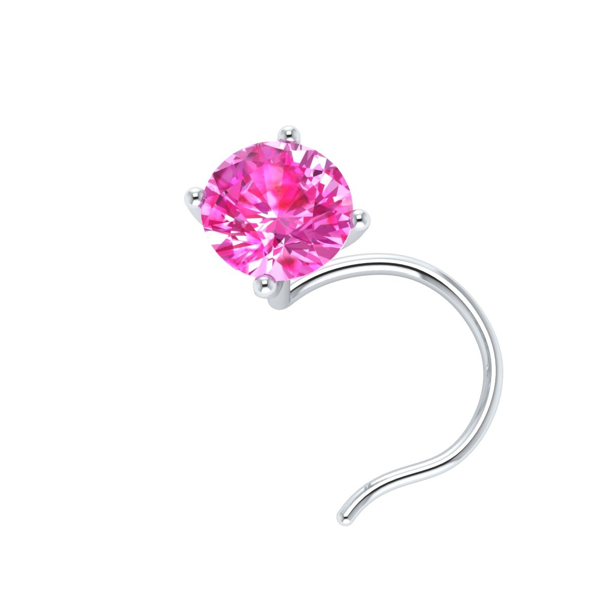 Demira Jewels 3.50 mm Round 4-Prong Real Pink Sapphire 14k Gold Solitaire Wedding Nose Piercing Stud Pin