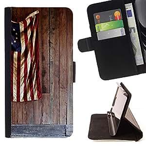 Momo Phone Case / Flip Funda de Cuero Case Cover - Bandera patriótica azul blanca roja - Samsung Galaxy E5 E500