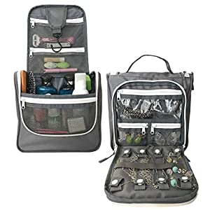 WAYFARER SUPPLY Toiletry Bags for Women with Travel Jewelry Organizer Fits Full Sized Travel Accessories, Grey