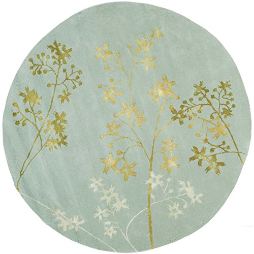 (Safavieh Soho Collection SOH316C Handmade Light Blue and Multi Premium Wool Round Area Rug (8' Diameter))