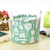 JOGOI Large Storage Basket Collapsible Storage Basket Round Bin with Durable Cotton Handles, Home Organizer Solution for Office Bedroom Closet Toys Laundry (Green)