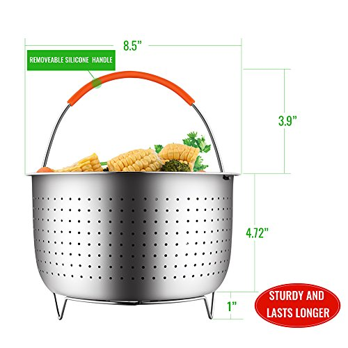 The Original Sturdy Steamer Basket for 6 or 8 Quart Instant Pot Pressure Cooker, 304 Stainless Steel Steamer Insert with Silicone Covered Handle, Great for Steaming Vegetables Fruits Eggs by HOUSE AGAIN (Image #2)