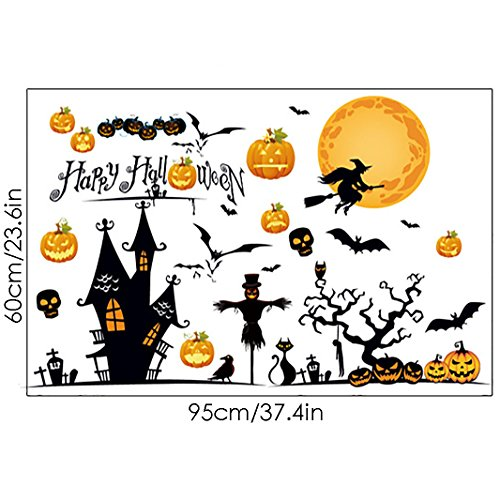 Ivenf Halloween Party Supplies Decorations Wall Decal Window Decor Bloody Moon Haunted Castle