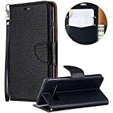 Luxury PU Leather Wallet Case for Samsung Galaxy S10,Flip Folio Case for Samsung Galaxy S10,Moiky Black Multifunctional Magnetic Kickstand Case Cover With Wrist Strap and ID&Credit Cards Slots