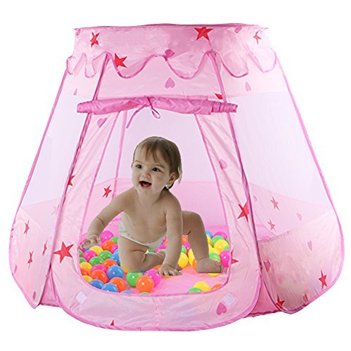 Toddler Runabout - WorldProof Princess Castle Children's Play Tents Foldable Pop Up Play House with Glow in Dark Stars Toy Indoor or Outdoor Use a Carrying Case (Pink)