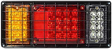 Partsam 2Pcs LED Truck Trailer Tail Lights Bar Kit 40 LED Waterproof Tail Turn Signal Brake Light Running Reverse Light with Iron Net Protection 5 Wires 10V-30V for Truck Boat Trailer UTV RV Camper