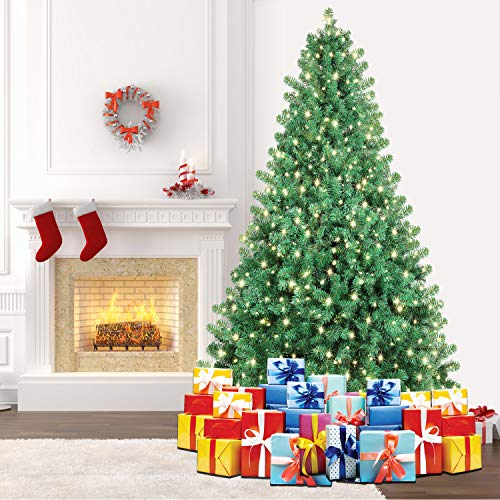 SHareconn 7.5ft Pre-Lit Premium Artificial Spruce Hinged Christmas Tree with 550 Clear Lights, 1800 Branch Tips and Metal Stand