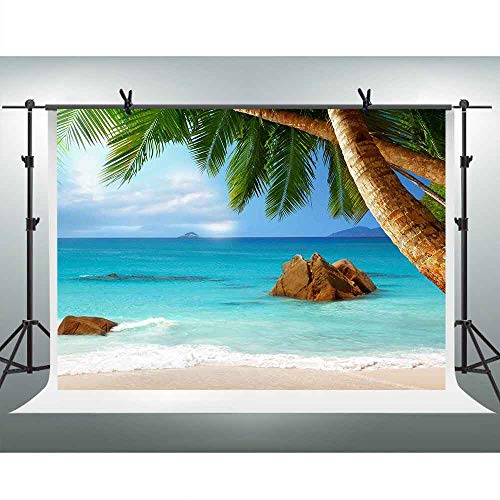 FHZON 10x7ft Tropical Beach Photography Backdrop White Cloud Blue Sky Sea Coconut Tree Background Holiday Travel Theme Party Photo Booth Props PFH566]()