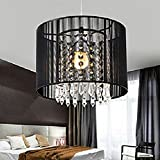 Gracelove Modern Black Brushed Crystal Chandeliers with 1 Light LED Pendant Lamp Ceiling Fixture for Dining Room, Bedroom,Living Room