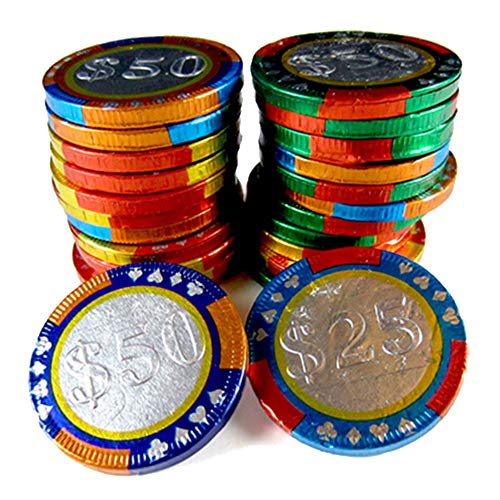 - Milk Chocolate Foil Wrapped Casino Chips- Come in in $25, 50, 100, 250 Stamped Foil Wrappers - 3 LB Bulk Bag