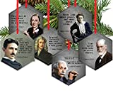 Set of 6 Famous Scientist Beveled Glass Christmas Tree Ornaments