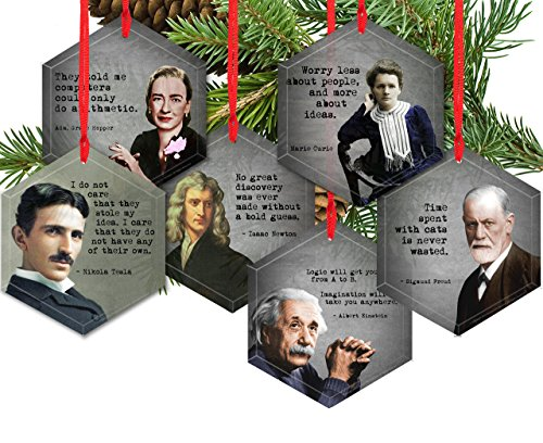 (Set of 6 Famous Scientist Beveled Glass Christmas Tree Ornaments)