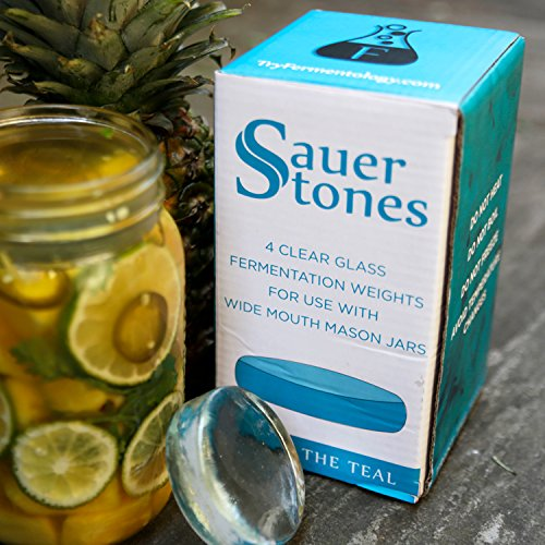 Sauer Stones - Large Glass Fermentation Weights for Mason Jar Fermentation, Preservation and Pickling - Fits ANY WIDE MOUTH MASON JAR - 4 Pack by Fermentology (Image #7)