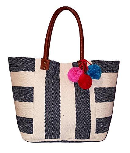 101 BEACH Canvas Wide Stripe Tote - Custom Embroidery Available (Denim Blue Stripe - Embroidery (Denim Lined Tote)