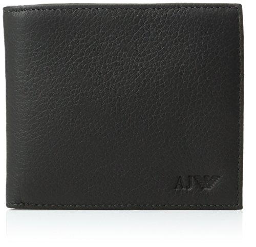 Armani Jeans Men's Genuine Leather Bi-Fold Wallet, Black, One Size