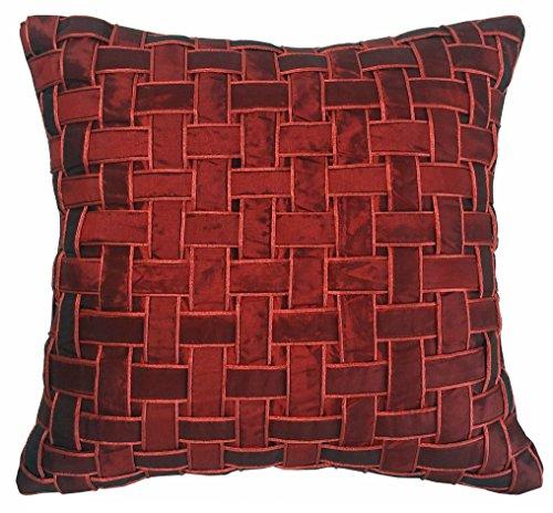 Metje 18x18 Basketweave Decorative Toss Pillow Medium Merlot