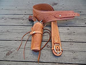 "Bull Creek Leather Western Gun Belt Holster Rig - Natural - 44""- 357/38 Caliber with 6"" Drop Down Holster"