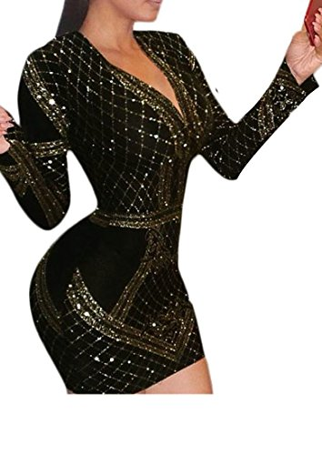 Velvet Cruiize Womens V Bodycon Sequin Club Dresses golden Striped Sexy Neck ZrxEpqrAw
