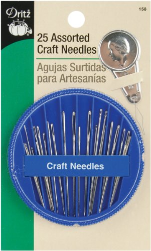 Dritz 158 Hand Needle Compact & Needle Threader for Crafting, Assorted Sizes (25-Count)