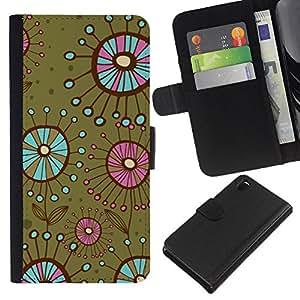 KLONGSHOP // Tirón de la caja Cartera de cuero con ranuras para tarjetas - Las bacterias flores verde del trullo - Sony Xperia Z3 D6603 //