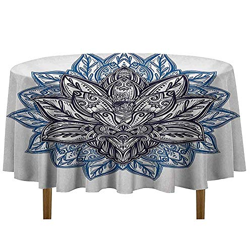 DouglasHill Lotus Easy Care Leakproof and Durable Tablecloth Ethnic Paisley Petals Themed Lotus Flower Ethnic Boho Tattoo Illustration Outdoor Picnic D35 Inch Violet Blue Indigo