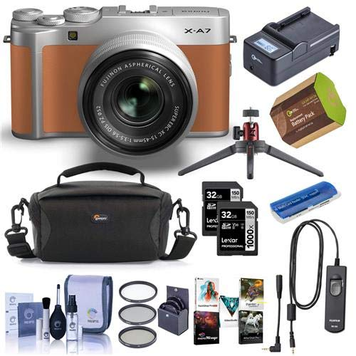 Fujifilm X-A7 24.2MP Mirrorless Camera with XC 15-45mm F3.5-5.6 OIS PZ Lens, Camel – Bundle with Camera Case, 2X 32GB SDHC Cards, 52mm Filter Kit, Spare Battery, Remote Release, Software, and More