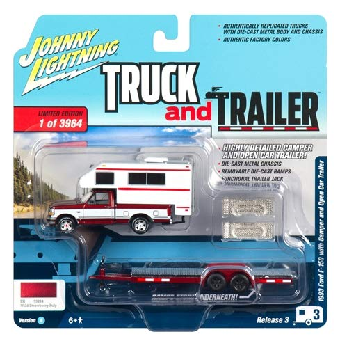 1993 Ford F-150 Red with White Camper and Chrome Open Car Trailer Limited Edition to 3,964 Pieces Worldwide Truck and Trailer Series 3 1/64 Diecast Model Car by Johnny Lightning JLSP036 A