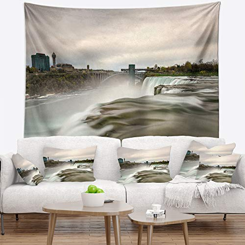 (Designart TAP10937-39-32 'Niagara Falls Goat Island View' Oversized Beach Tapestry Blanket Décor Wall Art for Home and Office, Medium: 39 in. x 32 in, Created on Lightweight Polyester Fabric)