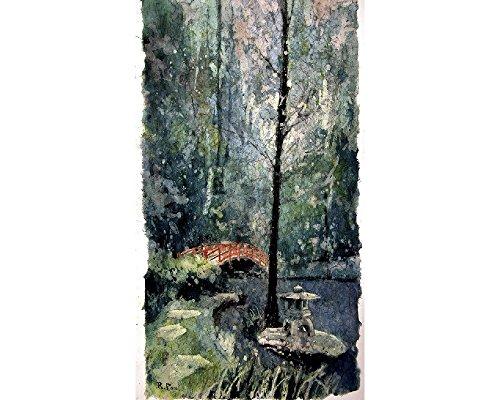 Watercolor batik on rice paper of bridge at Sarah P. Duke Gardens- Durham, NC (Batik Garden Wall)