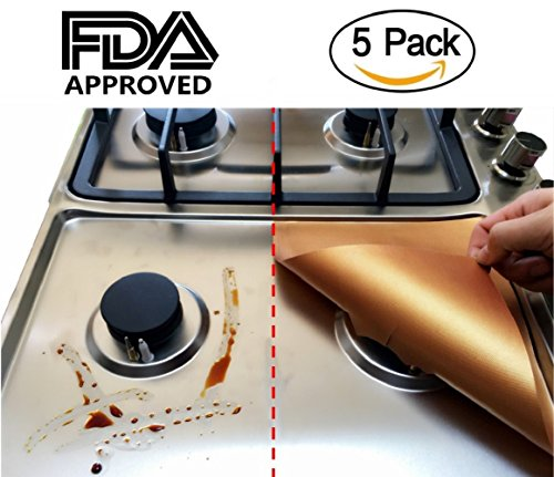 "Price comparison product image 5-PACK Non-stick Stove Burner Covers -- Adorrgon Reusable and Durable Copper Gas Range Protectors,  Double Thickness,  Cuttable,  Dishwasher Safe,  10.6"" L x 10.6"" W,  0.2 mm."