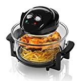 Tower Halogen Airwave Low Fat Air Fryer, Triple Cooking Power of Halogen, Convection and Infrared, 1300 W, 12 Litre Capacity with Extender Ring, Black