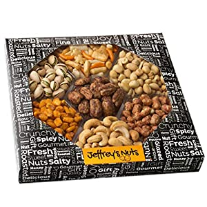 Jeffrey's Party Nuts and Snacks Assortment | 7-Sectional Gourmet Mixed Nuts Variety |Christmas Holiday Food Box Prime Gift, Great for Thanksgiving, Birthday, Mothers, Father's Day Vegan Corporate Tray