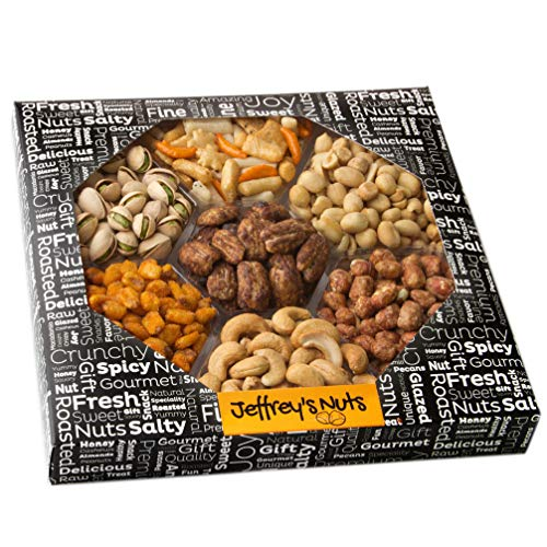 Jeffrey's Party Nuts and Snacks Assortment | 7-Sectional Gourmet Mixed Nuts Variety |Christmas Holiday Food Box Prime Gift, Great for Thanksgiving, Birthday, Mothers, Father's Day Vegan Corporate Tray]()