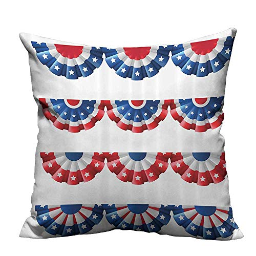 YouXianHome Modern Fashion Cushion Cover Flag Round Bunting Electi Ornament itic Uni Ribb Event Resists Dust Mites(Double-Sided Printing) 17.5x17.5 inch