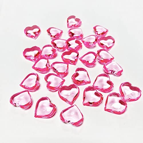 Table Scatter Decoration 1LB Heart Decorations Plastic 230 Pieces Acrylic Heart Pink Acrylic Heart CYS EXCEL Vase Fillers