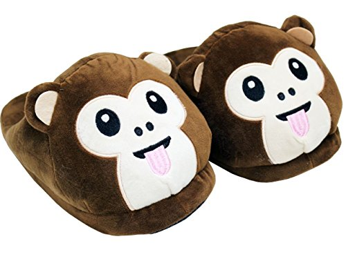 - A&N Cozy Thick Monkey Slippers Premium Quality Unisex Warm Stuffed Winter Funny Slippers - ONE Size FITS AL (Tounge Out)