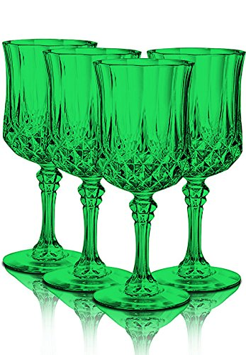 Longchamp Glassware Diamax Goblets 8 1/4 Oz Full Emerald Green Color Set of 4 By TableTop -