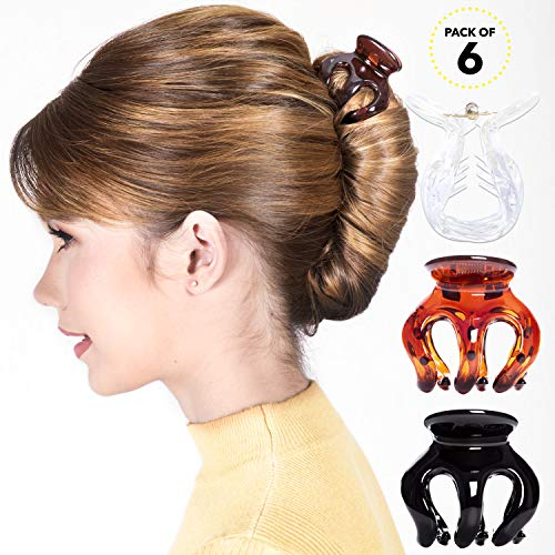 Clear Brown Braid - RC ROCHE ORNAMENT Womens Classic Pumpkin Strong Hold Secure Grip Multicolor Assorted Color No Slip Styling Sectioning Beauty Fashion Jaw Claw Hair Clips, 6 Pack Count Medium Clear Brown and Black