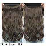 "Secret Halo Hair Extensions Flip in Curly Wavy Hair Extension Synthetic Women Hairpieces 20"" (Rust Brown #8A)"