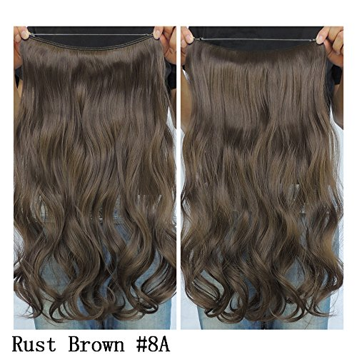 """Secret Halo Hair Extensions Flip in Curly Wavy Hair Extension Synthetic Women Hairpieces 20"""" (Rust Brown #8A)"""