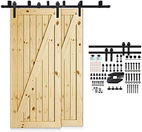 152cm(5FT) Kit de guía para puerta corredera Bypass Ferretería Polea de Rail suspendida sistema de puerta interiores en madera granero armario cuarto de, negro