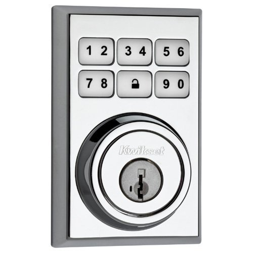 Kwikset 910 Z-Wave Contemporary SmartCode Electronic Deadbolt featuring SmartKey in Polished Chrome Kwikset