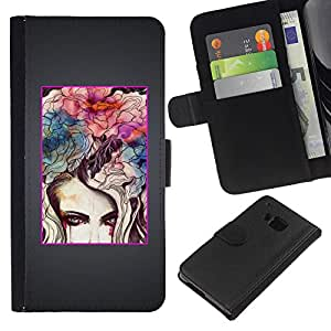 WINCASE Cuadro Funda Voltear Cuero Ranura Tarjetas TPU Carcasas Protectora Cover Case Para HTC One M9 - gris cepillado minimalista blanco negro