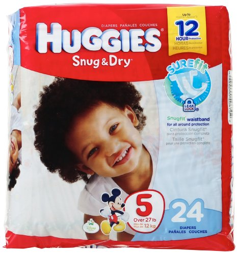 Amazon.com: Huggies Snug & Dry Diapers, Size 5, 24 Count: Prime Pantry