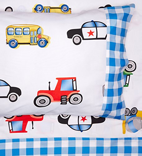Chezmoi Collection 3-Piece Truck Tractor School Bus Polic...