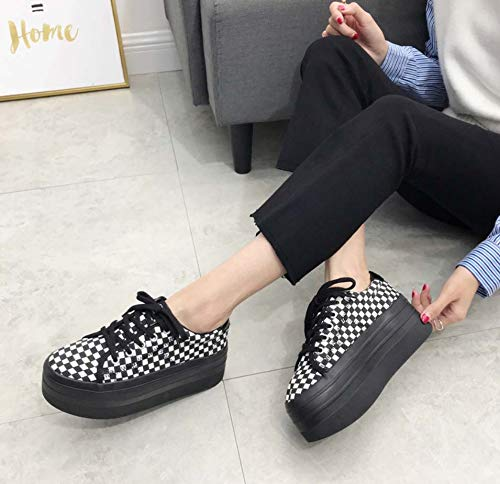 Casual DANDANJIE Thick Shoes Round Plaid Retro White Toe Black Womens Shoes Black Soles And Shoes wvxarwqAF