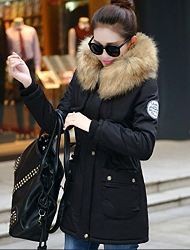 Fur Trim Women's Long Padded Solid xl Thin Sleeve Thick Hooded Casual Daily Hin Size Long chic YRF CoatStreet Plus 08dA0w