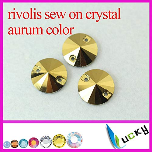 Pukido Golden Hematite/Aurum Color Flat Back sew on Crystal Buttons with Two Holes rivolis Round Shape Rhinestones - (Color: 16MM 72PCS)